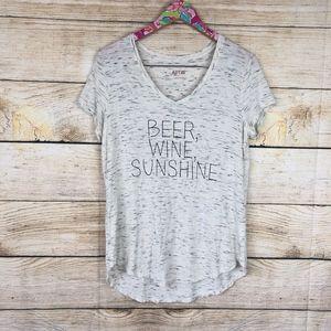 Apt 9 Beer, Wine, Sunshine v neck tee size L / O30